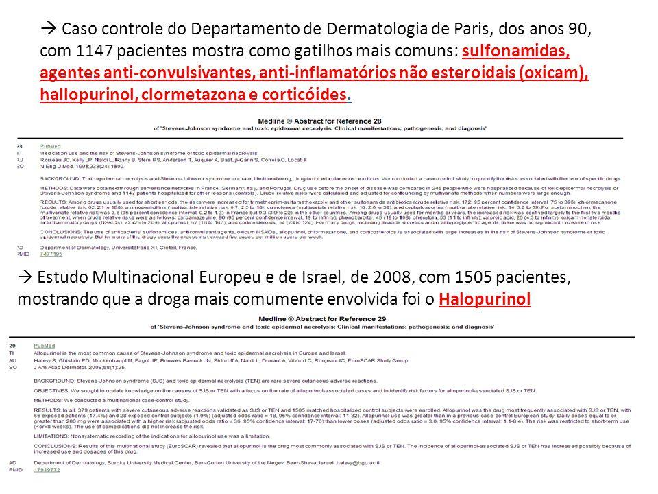  Caso controle do Departamento de Dermatologia de Paris, dos anos 90, com 1147 pacientes mostra como gatilhos mais comuns: sulfonamidas, agentes anti