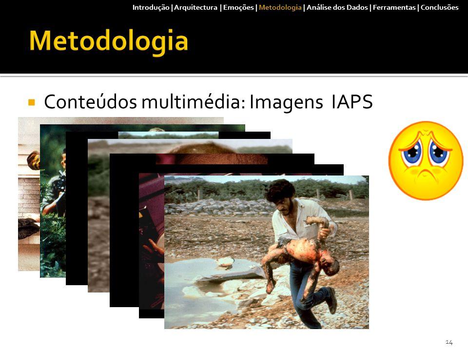  Conteúdos multimédia: Imagens IAPS 14 Introdução | Arquitectura | Emoções | Metodologia | Análise dos Dados | Ferramentas | Conclusões