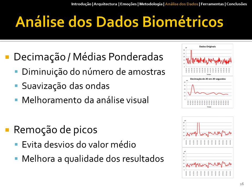  Decimação / Médias Ponderadas  Diminuição do número de amostras  Suavização das ondas  Melhoramento da análise visual Introdução | Arquitectura | Emoções | Metodologia | Análise dos Dados | Ferramentas | Conclusões  Remoção de picos  Evita desvios do valor médio  Melhora a qualidade dos resultados 16