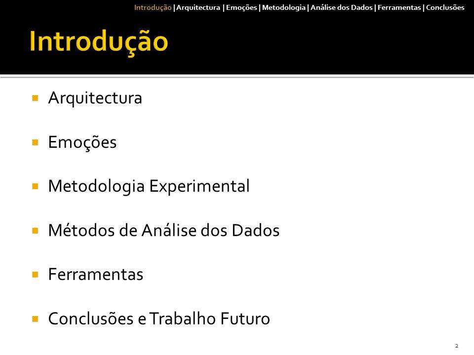 Introdução | Arquitectura | Emoções | Metodologia | Análise dos Dados | Ferramentas | Conclusões  Arquitectura  Emoções  Metodologia Experimental  Métodos de Análise dos Dados  Ferramentas  Conclusões e Trabalho Futuro 2