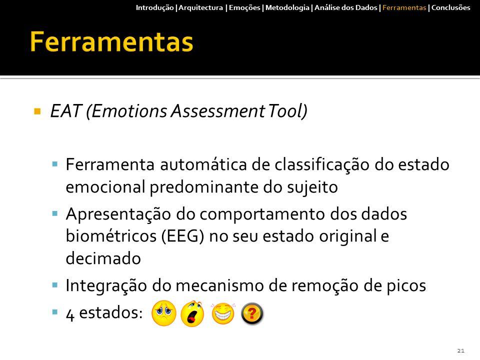  EAT (Emotions Assessment Tool)  Ferramenta automática de classificação do estado emocional predominante do sujeito  Apresentação do comportamento dos dados biométricos (EEG) no seu estado original e decimado  Integração do mecanismo de remoção de picos  4 estados: Introdução | Arquitectura | Emoções | Metodologia | Análise dos Dados | Ferramentas | Conclusões 21