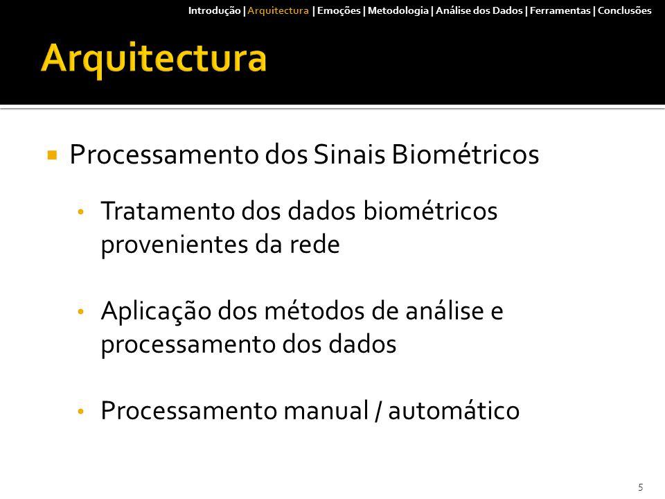  Processamento dos Sinais Biométricos Tratamento dos dados biométricos provenientes da rede Aplicação dos métodos de análise e processamento dos dados Processamento manual / automático Introdução | Arquitectura | Emoções | Metodologia | Análise dos Dados | Ferramentas | Conclusões 5