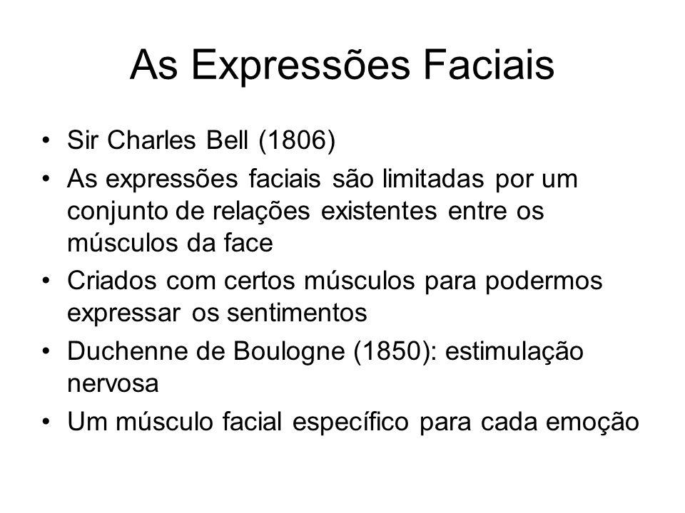 As Expressões Faciais Sir Charles Bell (1806) As expressões faciais são limitadas por um conjunto de relações existentes entre os músculos da face Criados com certos músculos para podermos expressar os sentimentos Duchenne de Boulogne (1850): estimulação nervosa Um músculo facial específico para cada emoção