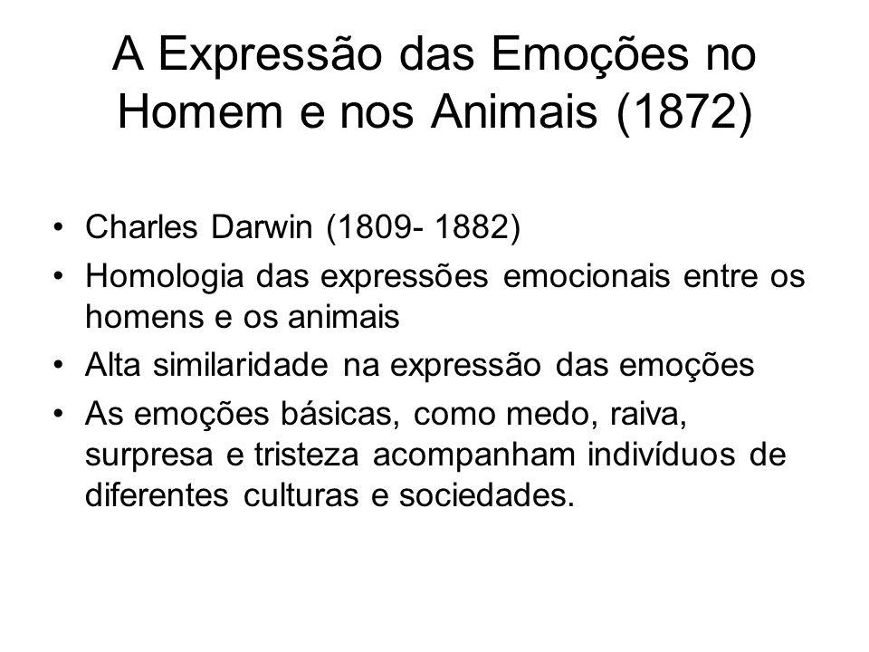 A Expressão das Emoções no Homem e nos Animais (1872) Charles Darwin (1809- 1882) Homologia das expressões emocionais entre os homens e os animais Alta similaridade na expressão das emoções As emoções básicas, como medo, raiva, surpresa e tristeza acompanham indivíduos de diferentes culturas e sociedades.