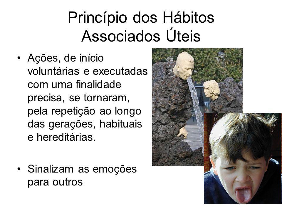 Princípio dos Hábitos Associados Úteis Ações, de início voluntárias e executadas com uma finalidade precisa, se tornaram, pela repetição ao longo das gerações, habituais e hereditárias.