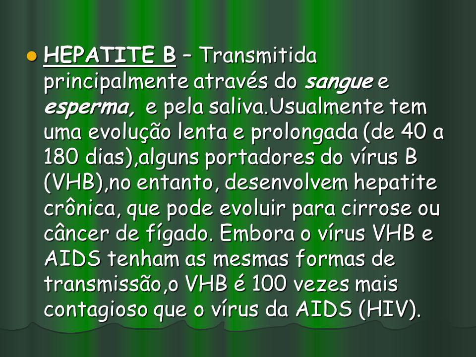 HEPATITE B – Transmitida principalmente através do sangue e esperma, e pela saliva.Usualmente tem uma evolução lenta e prolongada (de 40 a 180 dias),a