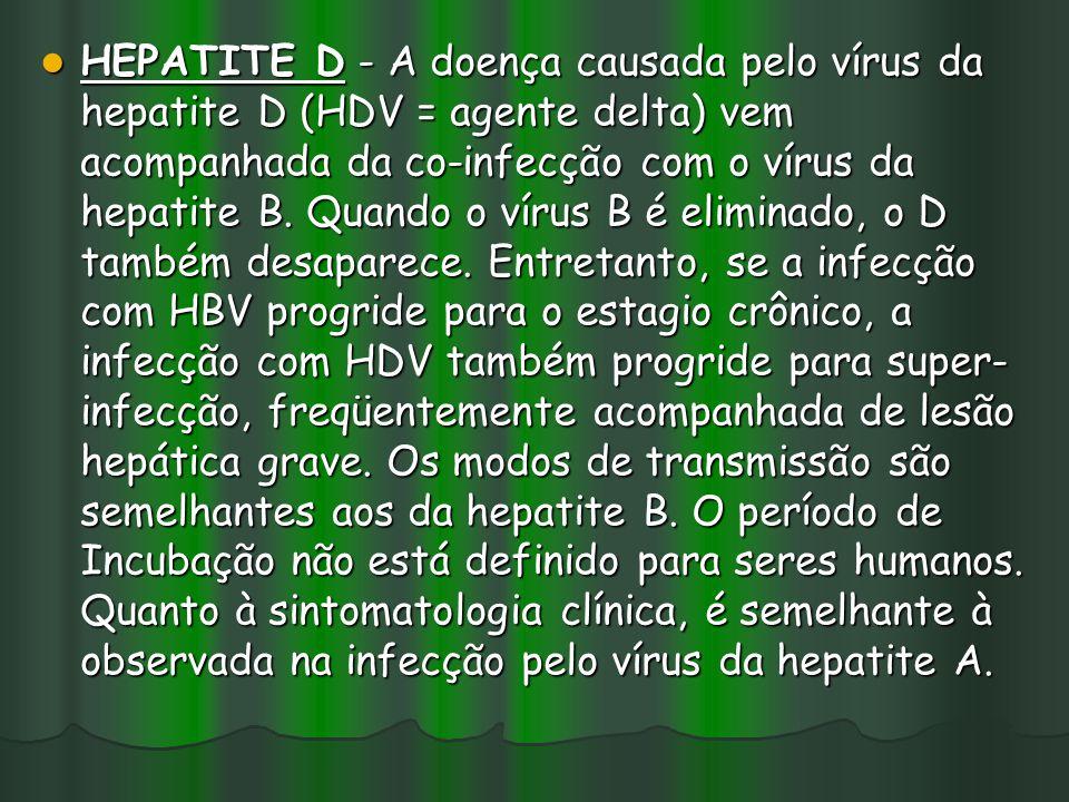 HEPATITE D - A doença causada pelo vírus da hepatite D (HDV = agente delta) vem acompanhada da co-infecção com o vírus da hepatite B. Quando o vírus B