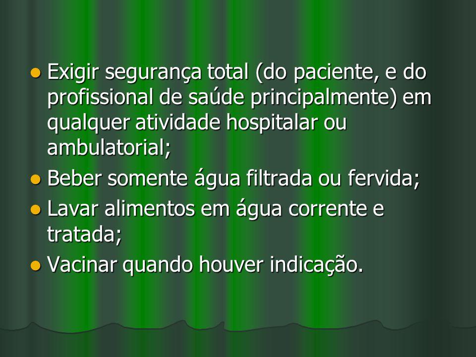 Exigir segurança total (do paciente, e do profissional de saúde principalmente) em qualquer atividade hospitalar ou ambulatorial; Exigir segurança tot