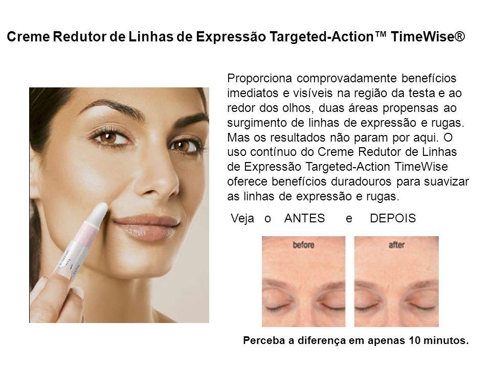 Creme Redutor de Linhas de Expressão Targeted-Action™ TimeWise® Proporciona comprovadamente benefícios imediatos e visíveis na região da testa e ao re