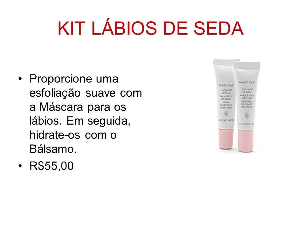 KIT LÁBIOS DE SEDA Proporcione uma esfoliação suave com a Máscara para os lábios. Em seguida, hidrate-os com o Bálsamo. R$55,00