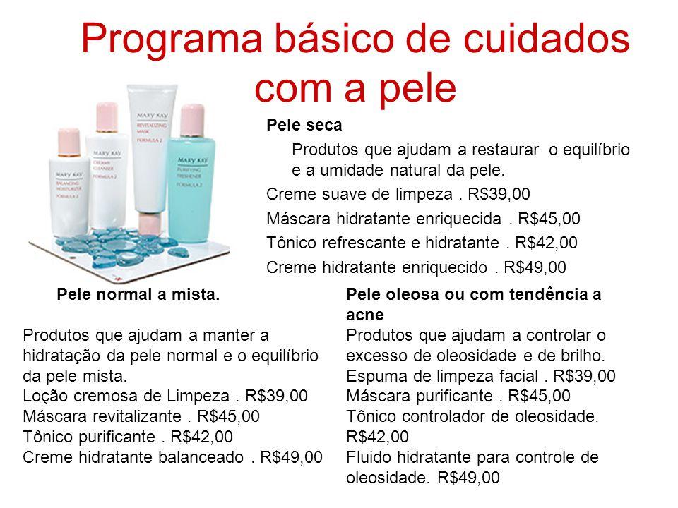 Programa básico de cuidados com a pele Pele seca Produtos que ajudam a restaurar o equilíbrio e a umidade natural da pele. Creme suave de limpeza. R$3