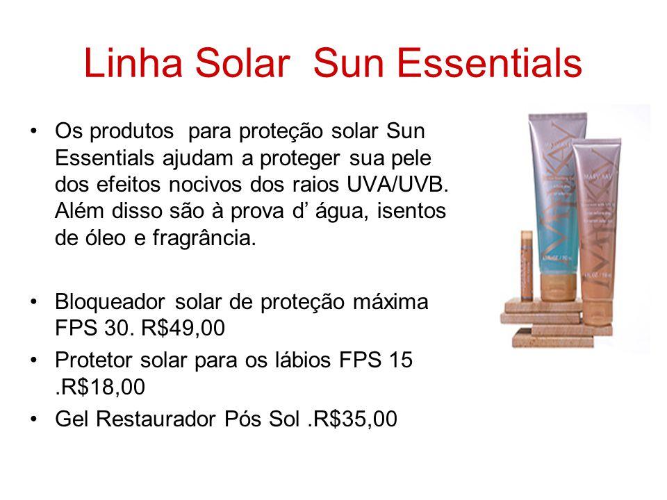 Linha Solar Sun Essentials Os produtos para proteção solar Sun Essentials ajudam a proteger sua pele dos efeitos nocivos dos raios UVA/UVB. Além disso