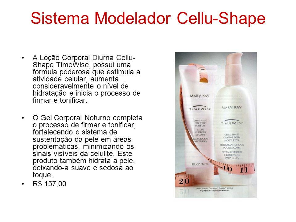 Sistema Modelador Cellu-Shape A Loção Corporal Diurna Cellu- Shape TimeWise, possui uma fórmula poderosa que estimula a atividade celular, aumenta con
