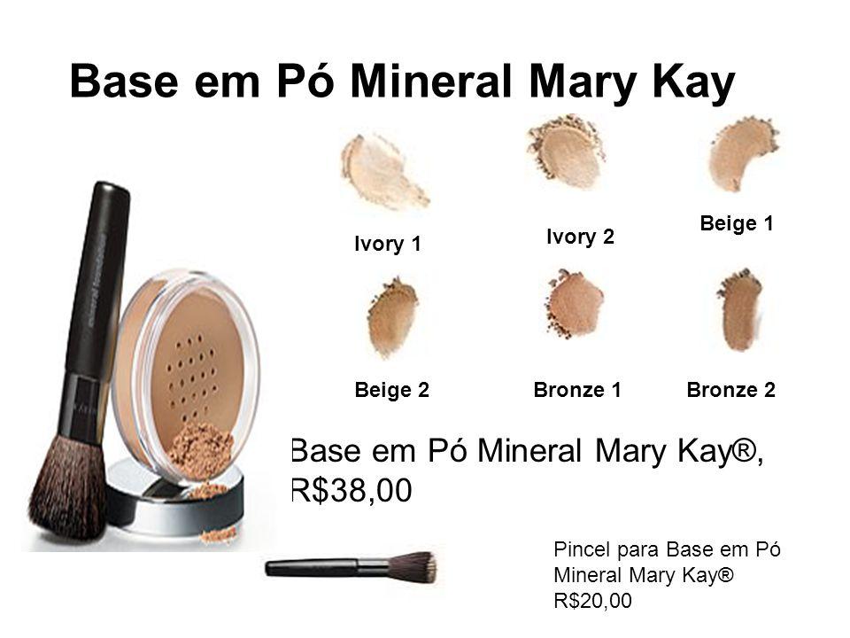 Base em Pó Mineral Mary Kay Base em Pó Mineral Mary Kay®, R$38,00 Pincel para Base em Pó Mineral Mary Kay® R$20,00 Ivory 1 Ivory 2 Beige 1 Beige 2Bron