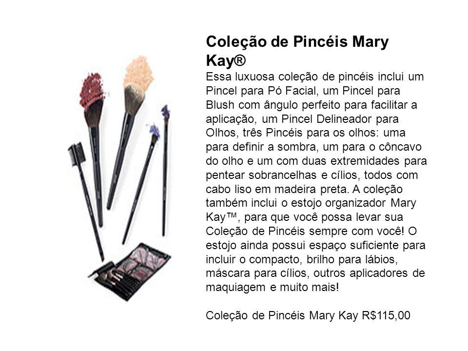 Coleção de Pincéis Mary Kay® Essa luxuosa coleção de pincéis inclui um Pincel para Pó Facial, um Pincel para Blush com ângulo perfeito para facilitar