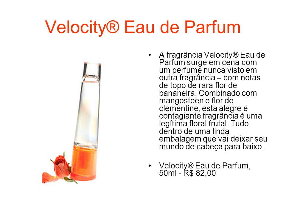 Velocity® Eau de Parfum A fragrância Velocity® Eau de Parfum surge em cena com um perfume nunca visto em outra fragrância – com notas de topo de rara