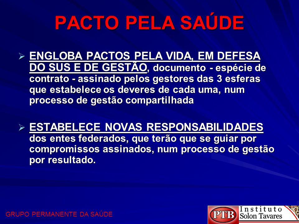 PACTO PELA SAÚDE  ENGLOBA PACTOS PELA VIDA, EM DEFESA DO SUS E DE GESTÃO, documento - espécie de contrato - assinado pelos gestores das 3 esferas que