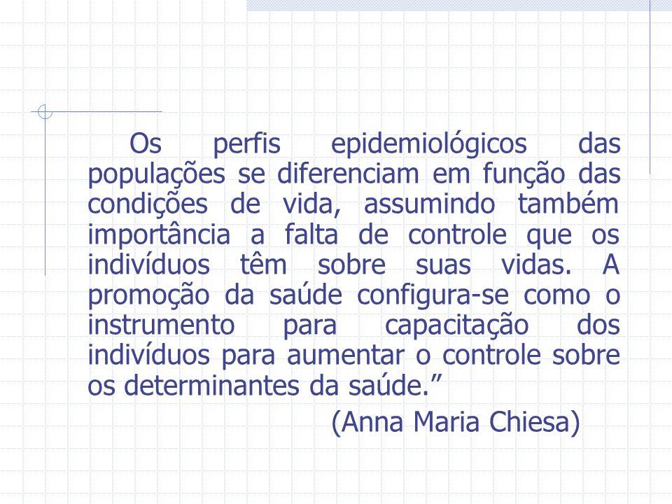 Os perfis epidemiológicos das populações se diferenciam em função das condições de vida, assumindo também importância a falta de controle que os indiv
