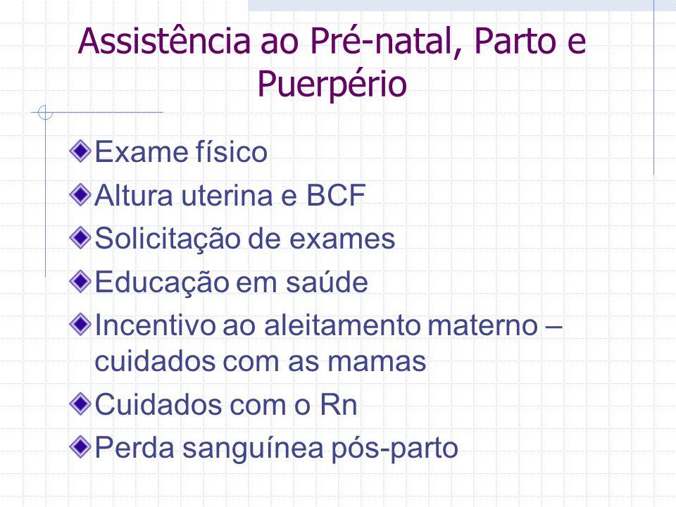 Assistência ao Pré-natal, Parto e Puerpério Exame físico Altura uterina e BCF Solicitação de exames Educação em saúde Incentivo ao aleitamento materno
