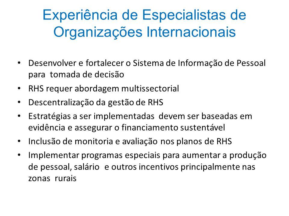 Experiência de Especialistas de Organizações Internacionais Desenvolver e fortalecer o Sistema de Informação de Pessoal para tomada de decisão RHS req