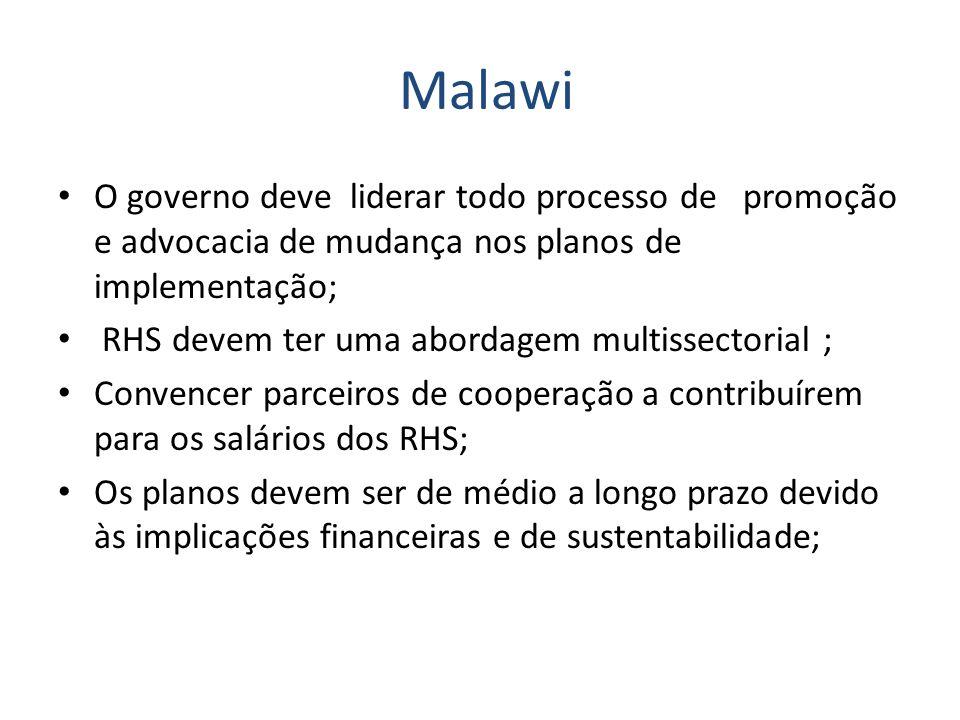 Malawi O governo deve liderar todo processo de promoção e advocacia de mudança nos planos de implementação; RHS devem ter uma abordagem multissectoria