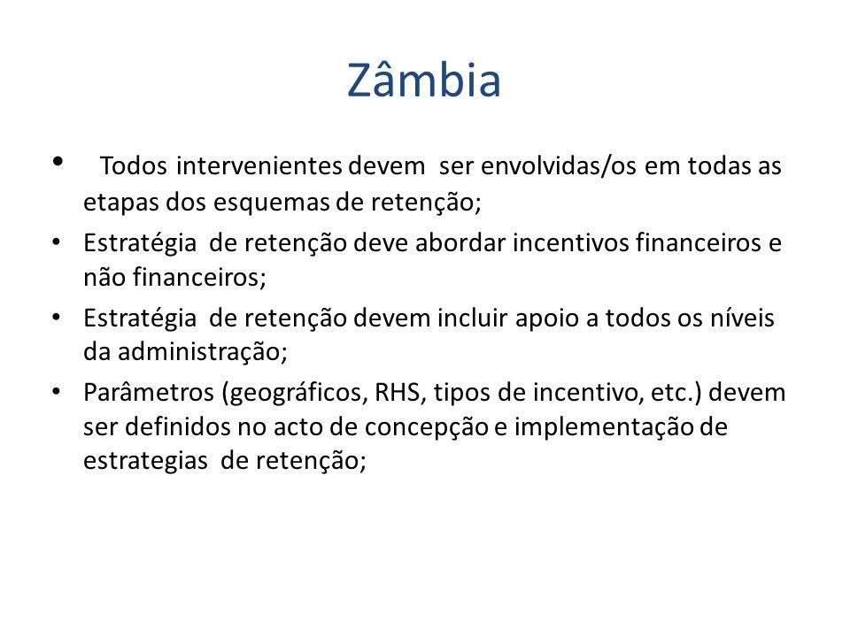 Zâmbia Todos intervenientes devem ser envolvidas/os em todas as etapas dos esquemas de retenção; Estratégia de retenção deve abordar incentivos financ