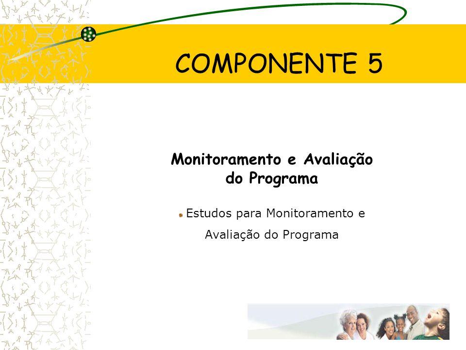 COMPONENTE 5 Monitoramento e Avaliação do Programa Estudos para Monitoramento e Avaliação do Programa