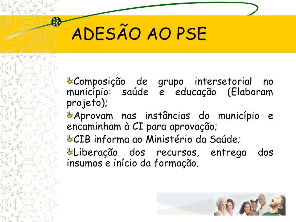 ADESÃO AO PSE Composição de grupo intersetorial no município: saúde e educação (Elaboram projeto); Aprovam nas instâncias do município e encaminham à