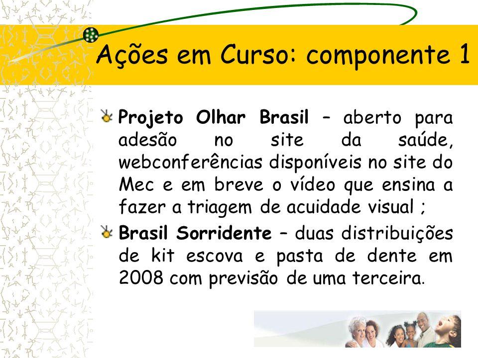 Ações em Curso: componente 1 Projeto Olhar Brasil – aberto para adesão no site da saúde, webconferências disponíveis no site do Mec e em breve o vídeo
