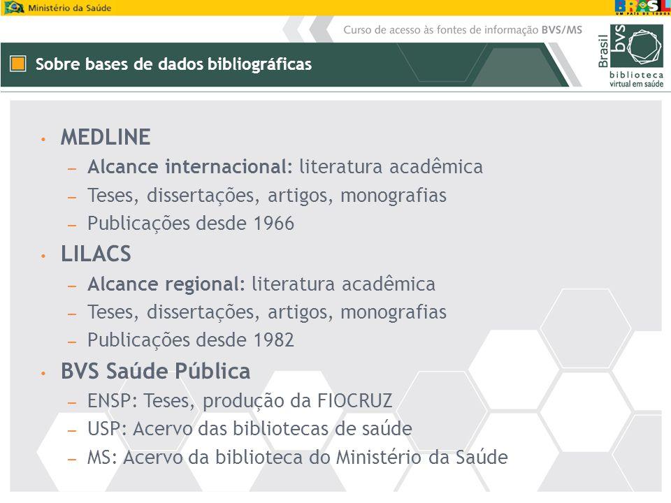 Sobre bases de dados bibliográficas MEDLINE – Alcance internacional: literatura acadêmica – Teses, dissertações, artigos, monografias – Publicações de