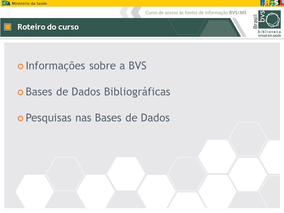 Roteiro do curso Informações sobre a BVS Bases de Dados Bibliográficas Pesquisas nas Bases de Dados