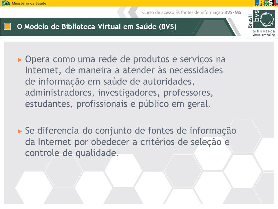 ► Opera como uma rede de produtos e serviços na Internet, de maneira a atender às necessidades de informação em saúde de autoridades, administradores,