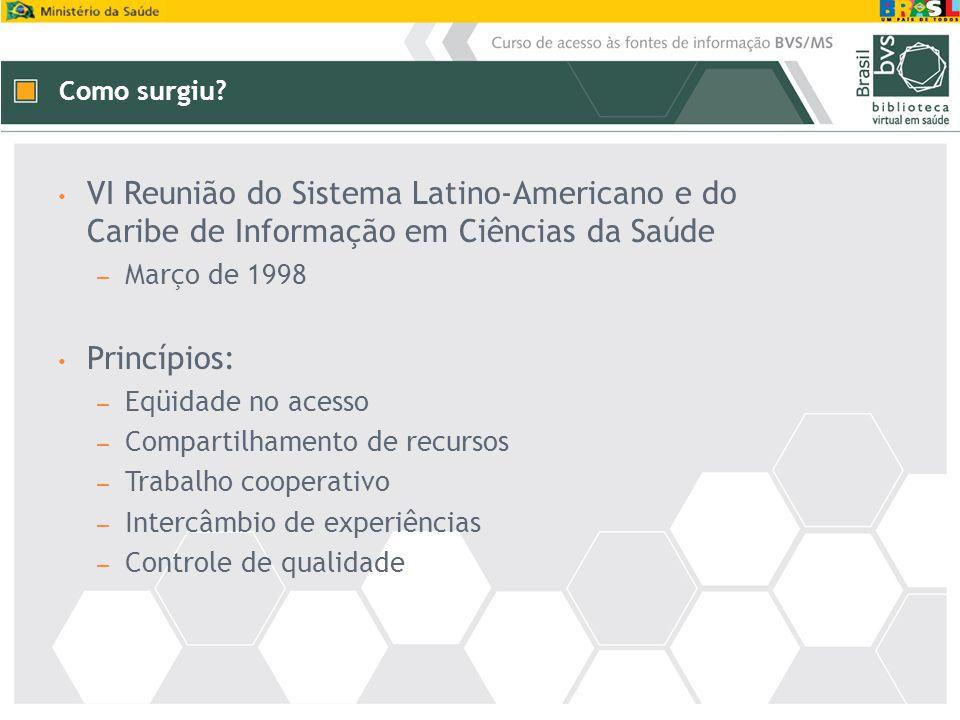 VI Reunião do Sistema Latino-Americano e do Caribe de Informação em Ciências da Saúde – Março de 1998 Princípios: – Eqüidade no acesso – Compartilhame