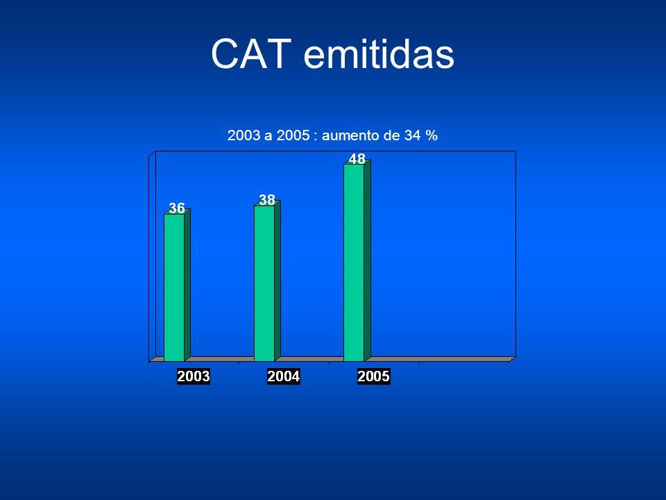 CAT por gênero 2003 78 % mulher 22% homem 2004 66% mulher 34% homem 2005 63% mulher 37% homem 2010 49% mulher 51% homem