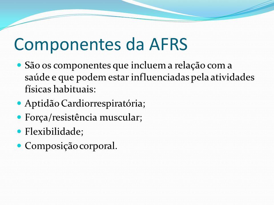 Componentes da AFRS São os componentes que incluem a relação com a saúde e que podem estar influenciadas pela atividades físicas habituais: Aptidão Ca