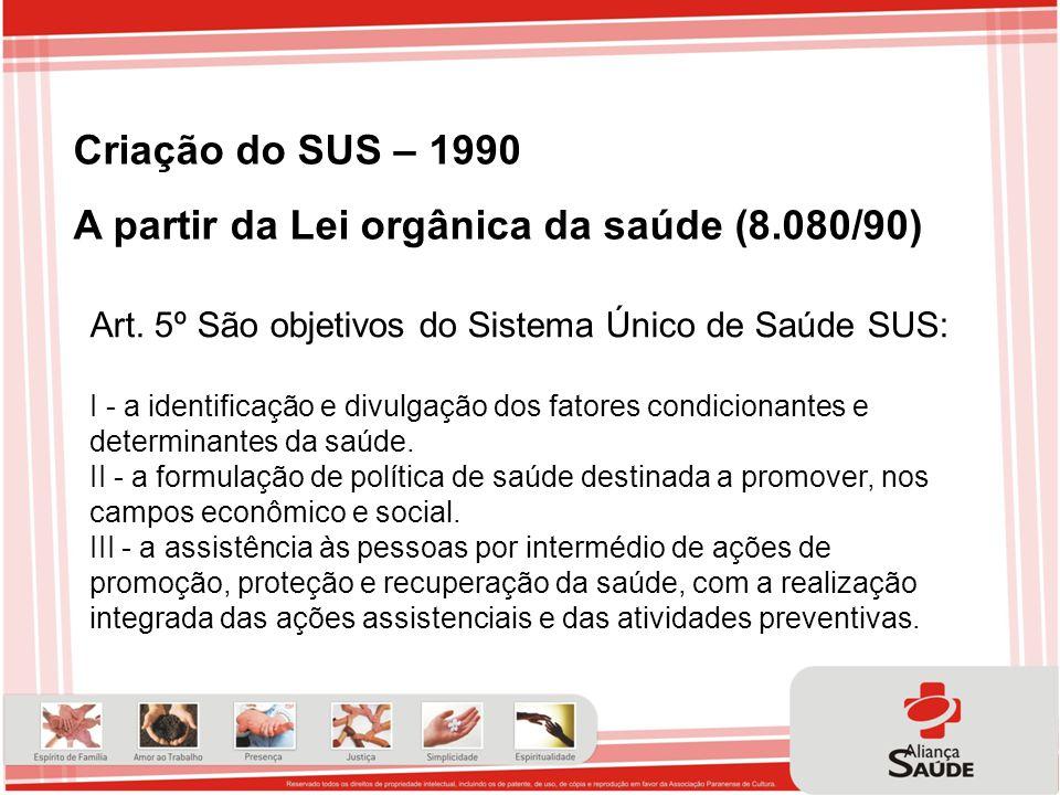 Criação do SUS – 1990 A partir da Lei orgânica da saúde (8.080/90) Art. 5º São objetivos do Sistema Único de Saúde SUS: I - a identificação e divulgaç