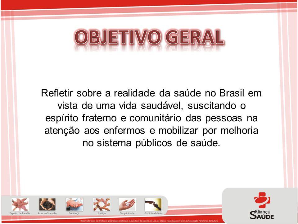 Refletir sobre a realidade da saúde no Brasil em vista de uma vida saudável, suscitando o espírito fraterno e comunitário das pessoas na atenção aos e