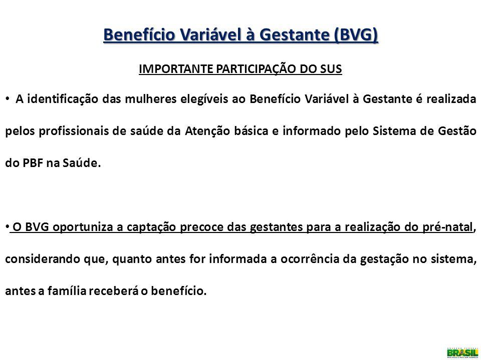 Benefício Variável à Gestante (BVG) IMPORTANTE PARTICIPAÇÃO DO SUS A identificação das mulheres elegíveis ao Benefício Variável à Gestante é realizada
