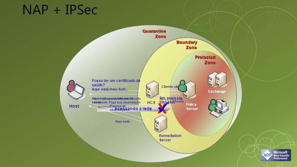 Aqui está seu certificado de saúde. Sim, pegue seu novo certificado Acessando a rede X Remediation Server Policy Server HCS Posso ter um certificado d