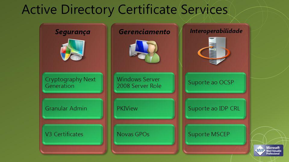 SegurançaGerenciamento Interoperabilidade Cryptography Next Generation Granular Admin V3 Certificates Windows Server 2008 Server Role PKIView Novas GP