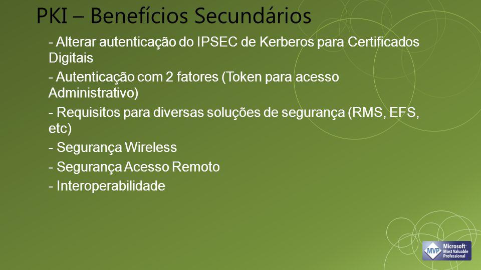 - Alterar autenticação do IPSEC de Kerberos para Certificados Digitais - Autenticação com 2 fatores (Token para acesso Administrativo) - Requisitos para diversas soluções de segurança (RMS, EFS, etc) - Segurança Wireless - Segurança Acesso Remoto - Interoperabilidade PKI – Benefícios Secundários