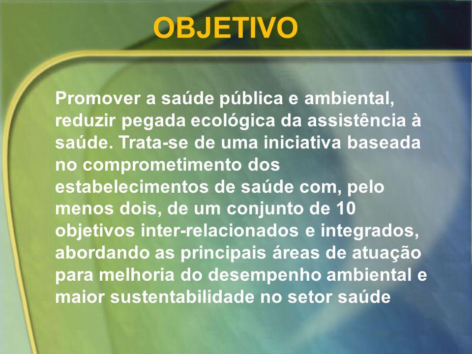 Promover a saúde pública e ambiental, reduzir pegada ecológica da assistência à saúde. Trata-se de uma iniciativa baseada no comprometimento dos estab