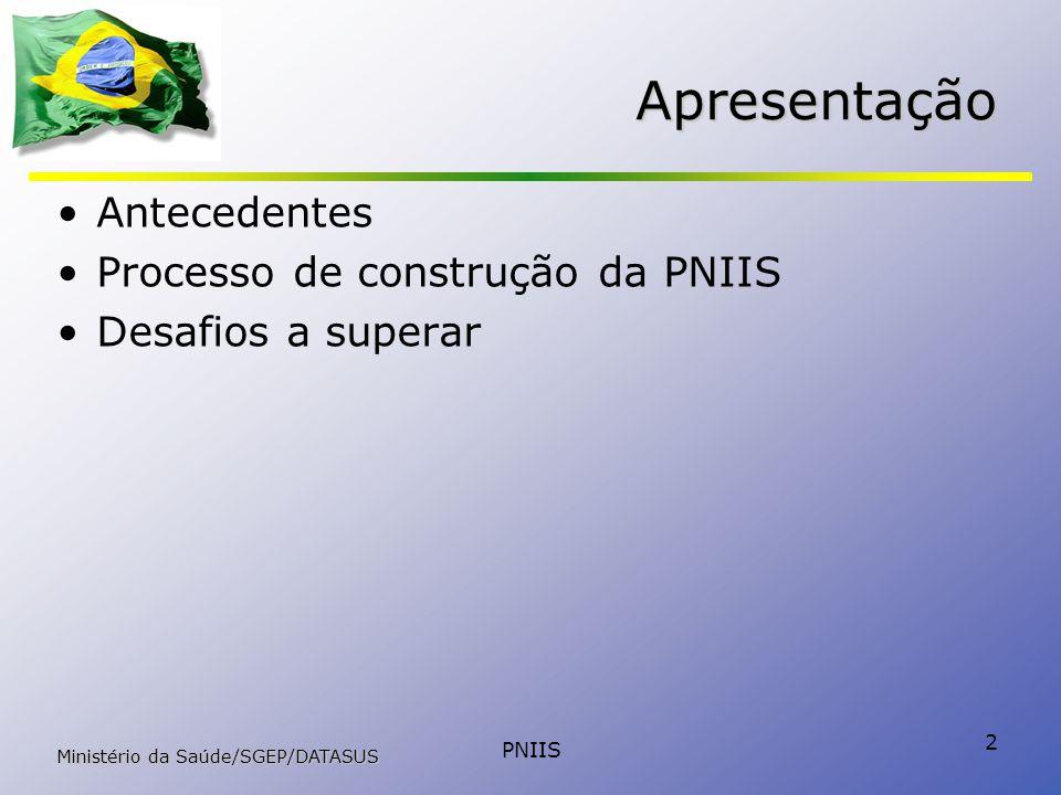 PNIIS 2 Apresentação Antecedentes Processo de construção da PNIIS Desafios a superar Ministério da Saúde/SGEP/DATASUS
