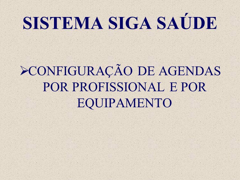 SISTEMA SIGA SAÚDE  CONFIGURAÇÃO DE AGENDAS POR PROFISSIONAL E POR EQUIPAMENTO