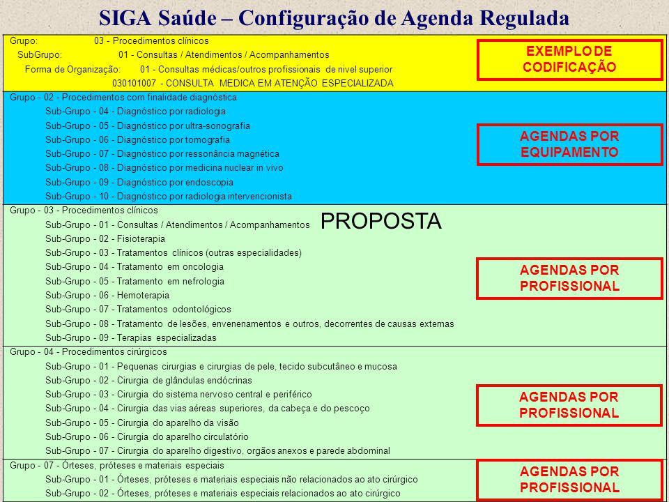 SIGA Saúde – Configuração de Agenda Regulada Grupo: 03 - Procedimentos clínicos SubGrupo: 01 - Consultas / Atendimentos / Acompanhamentos Forma de Org