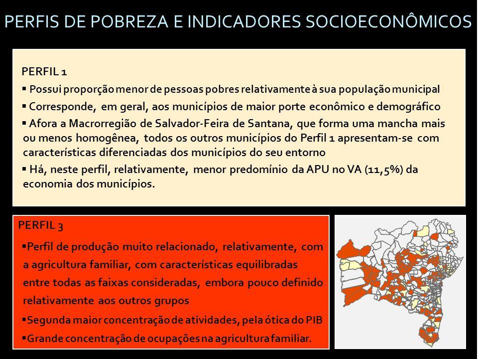 PERFIS DE POBREZA E INDICADORES SOCIOECONÔMICOS PERFIL 1  Possui proporção menor de pessoas pobres relativamente à sua população municipal  Corresponde, em geral, aos municípios de maior porte econômico e demográfico  Afora a Macrorregião de Salvador-Feira de Santana, que forma uma mancha mais ou menos homogênea, todos os outros municípios do Perfil 1 apresentam-se com características diferenciadas dos municípios do seu entorno  Há, neste perfil, relativamente, menor predomínio da APU no VA (11,5%) da economia dos municípios.