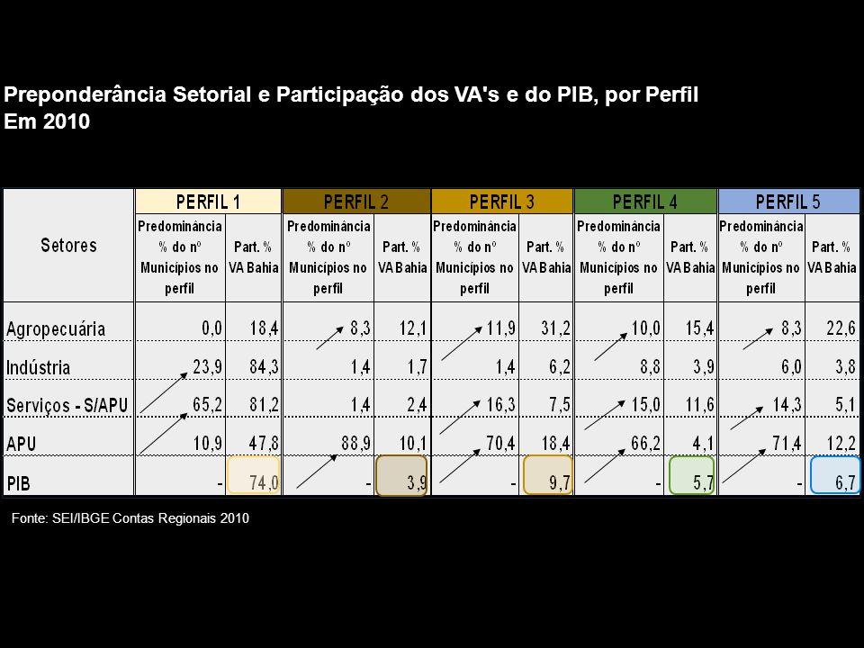 Preponderância Setorial e Participação dos VA s e do PIB, por Perfil Em 2010 Fonte: SEI/IBGE Contas Regionais 2010