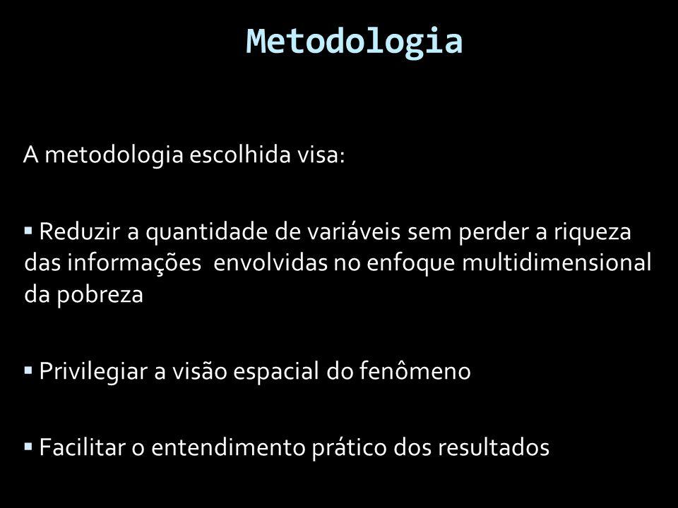 Metodologia A metodologia escolhida visa:  Reduzir a quantidade de variáveis sem perder a riqueza das informações envolvidas no enfoque multidimensional da pobreza  Privilegiar a visão espacial do fenômeno  Facilitar o entendimento prático dos resultados