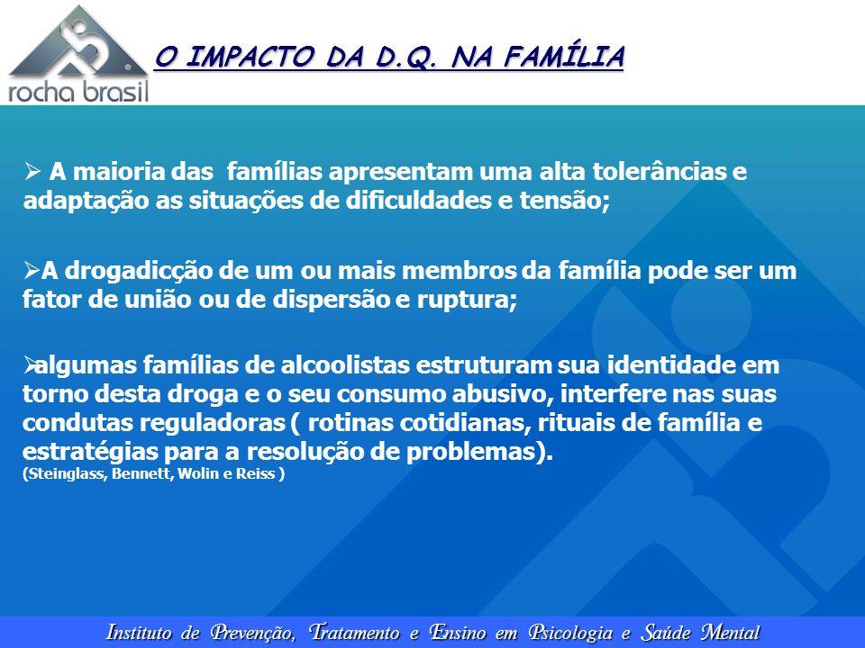 I nstituto de P revenção, T ratamento e E nsino em P sicologia e S aúde M ental O IMPACTO DA D.Q. NA FAMÍLIA  A maioria das famílias apresentam uma a