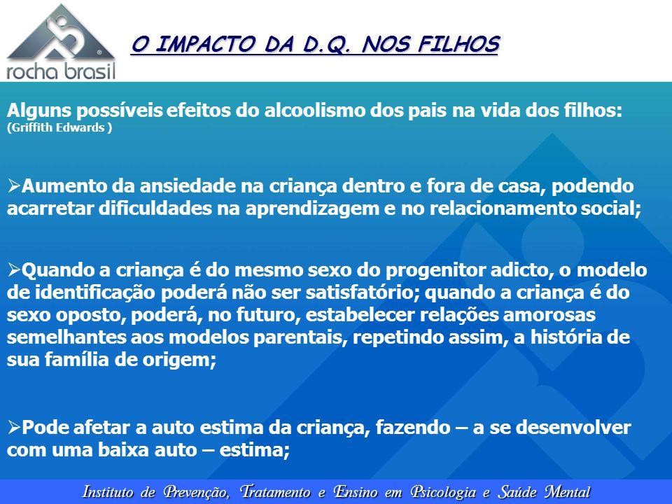 I nstituto de P revenção, T ratamento e E nsino em P sicologia e S aúde M ental O IMPACTO DA D.Q. NOS FILHOS Alguns possíveis efeitos do alcoolismo do